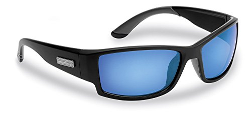 Flying Fisherman Razor Polarized Sunglasses, Matte Black Frame, Smoke-Blue Mirror Lenses