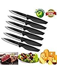 Steak knives set of 6, DSNN Ceramic Knife Steak Sharp Knives Black Blade Knife Best
