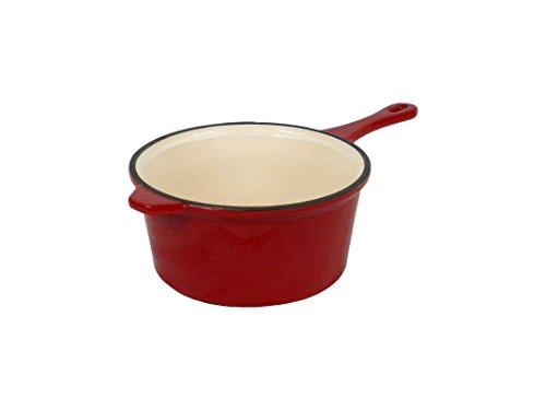 Field Chef Red Enameled Cast Iron Saucepan 3-Quart, Oven Safe 400 Deg, Slow Cook, Stew, One-Pot Meals, Rice, Pork, Lamb, Spaghetti, Beef, Chilli, Casserole, Soups, Chicken, Fish, Beans, Turkey, Gravy by Field Chef Home Collection