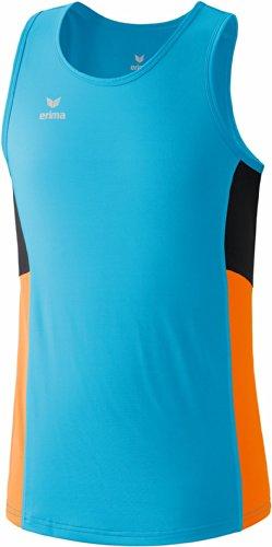 Erima Premium One - Canotta da corsa, colore: Blu/arancio fluo/nero, Blu (Curacao/Arancione fluo/Nero), M