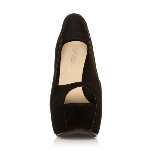 PEEPTOE Black Faux Suede Stiletto Very High Heel Platform Peep Toe Shoes vxmlm6
