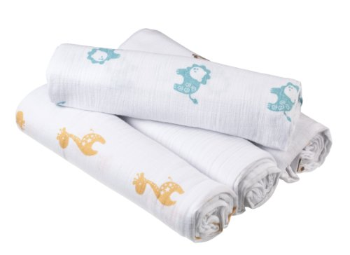 Aden + Anais Muslin Cotton Receiving Blankets, Set of 4, Safari Friends