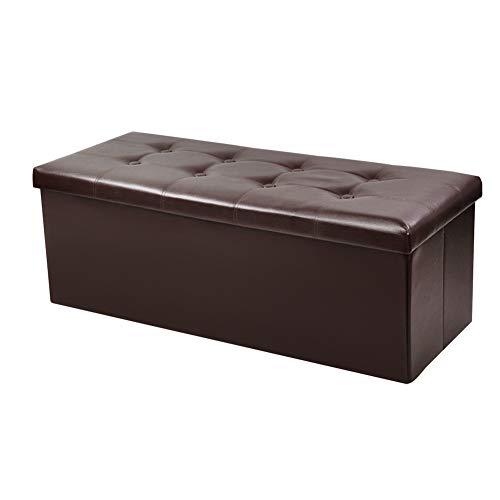 BCDshop_Sofa Storage Ottoman Bench,BCDshop Classics Foldable Storage Chest Footrest Padded Seat Rectangular Storage Box,Faux Leather (Brown)