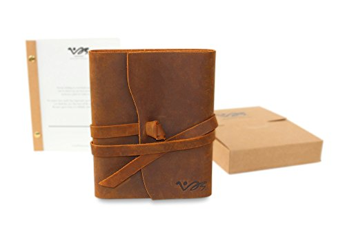 Recycled Cardboard Journal (Notebook Leather Journal Refillable - Handmade Journal with Recycled Paper Refill included)