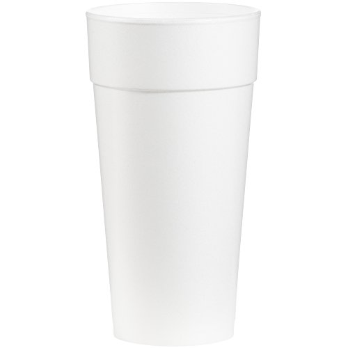 Dart 24J16 Drink Foam Cups, Hot/Cold, 24oz, White, 25 Per Bag (Case of 20 Bags)