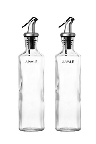 Oil and Vinegar Dispenser Salad Dressing Cruet Glass Bottle 2 Piece Set - With Lever Release Pourer - 12 oz