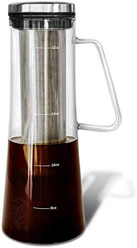 Airtight Cold Brew Iced Coffee Maker and Tea Infuser with Spout | Brocca by Bassani | 1.0L / 32oz Glass Carafe with Stainless Steel Removable and Reusable Filter For Sale