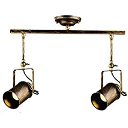 Vintage Industrial Ceiling Spotlight, Jeffrien Retro Minimalist Adjustable 2 Lamp Bronze Metal Track Lighting Fixture for Office Loft Hall Bedroom Restaurant Hotel Coffee Shop