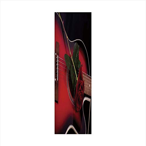 - Decorative Window Film,No Glue Frosted Privacy Film,Stained Glass Door Film,Spanish Musician Portugal Hand Made Guitar with Romance Theme Love Rose,for Home & Office,23.6In. by 78.7In Ruby and White
