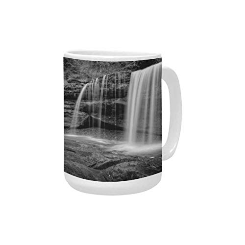 InterestPrint Hidden Waterfall in Hocking Hills Ohio Large Size Coffee Mug Cup 15 Oz, Novelty Mugs for Mom, Grandma, Him or Her, Dad