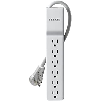 Belkin 6-Outlet SlimLine Power Strip Surge Protector with 6-Foot Power Cord and Rotating Plug, 720 Joules (BE106001-06R)