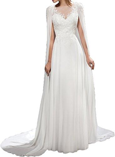 Damen Chiffon Hochwertig Abendkleid Brautkleid Ivydressing Hochzeitskleid Stola Mit Rundkragen Spitze Weiß Spd1wqA