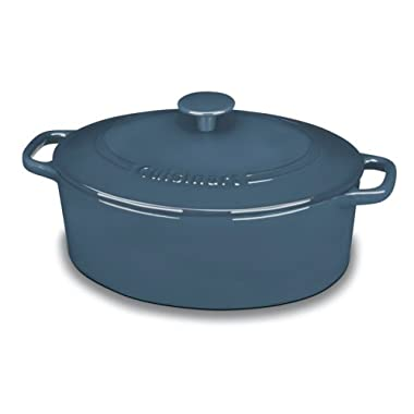 Cuisinart CI755-30BG Chef's Classic Enameled Cast Iron 5-1/2-Quart Oval Covered Casserole, Provencal Blue