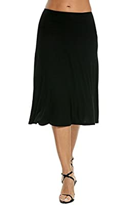 Meaneor Women's Stretch Solid Basic Fold-Over Knee Length Flowy Skirt