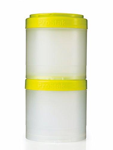 BlenderBottle ProStak Twist n Lock Storage Jars Expansion 2-Pak with Pill Tray, Clear/Green