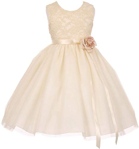 Little Girls Elegant Contrast 3D Lace Tulle Flower Girl Dress Ivory Size 6 (C11C42C)