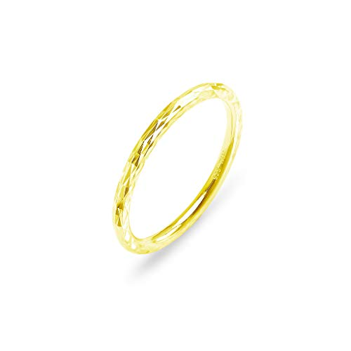 (Yellow Gold Flashed Sterling Silver Polished Hammered Stackable 2mm Wedding Band Ring | Size 5)