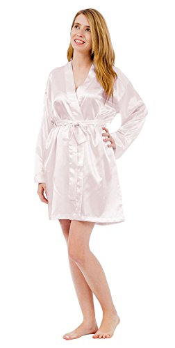 Up2date Fashion Women's Satin Charmeuse Robes, Style#Gwn-11 (X Large, White)