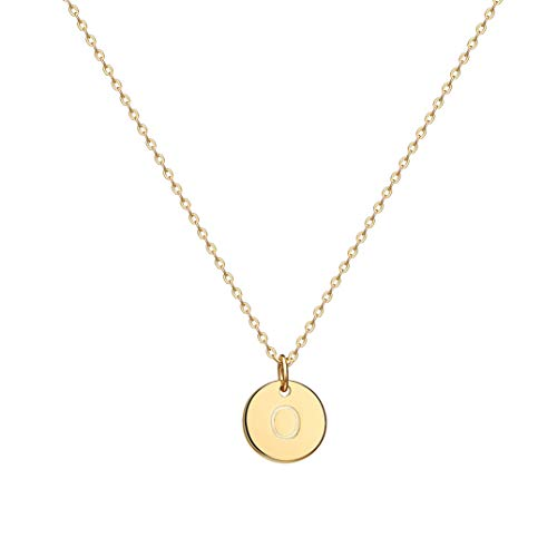 Befettly Initial Necklace Pendant 14K Gold-Plated Round Disc Double Side Engraved Hammered Choker Necklace 16.5'' Adjustable Personalized Alphabet Letter Pendant O (Necklace Initial O)