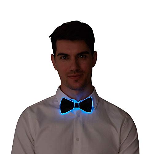 RaveLife Light Up Bow Tie LED El Wire Tie for Party Christmas Festival Rave Party Gift Fashion Limited Collection,One Size (Blue, -