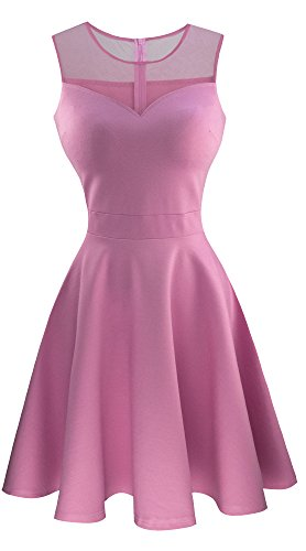 Heloise Womens A-Line Sleeveless Pleated Little Pink Cocktail Party Dress (L Pink)