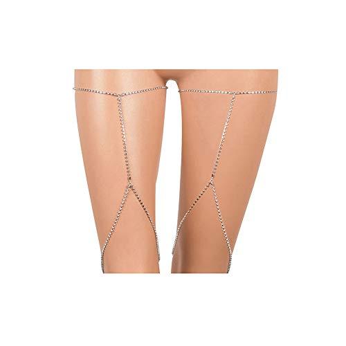 VITORIA'S GIFT Simple Women Body Jewelry Handmade Chain Tassel Thigh Leg Chain (Thigh High Rhinestone Anklet)
