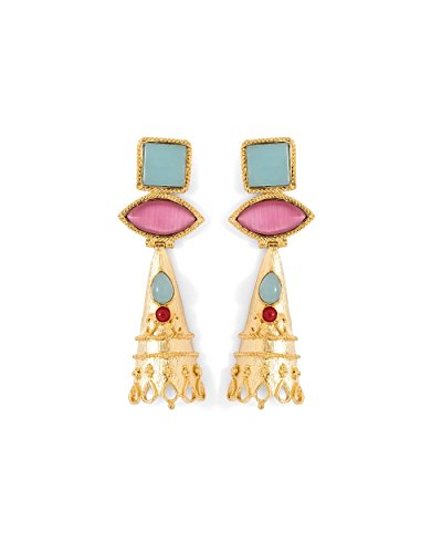 Voylla Women's Golden Danglers Adorned With Multicolour Stones by Voylla