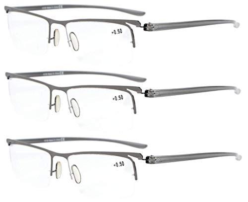 (Eyekepper 3-Pack Plastic Temple Lightweight Half-Rim Reading Glasses Men Women Gunmetal +0.75)