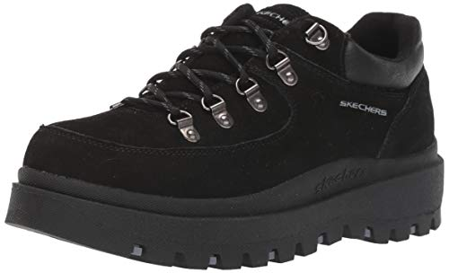 Skechers Women's SHINDIGS-Stompin' -Rugged Heritage Style 5-Eye Suede Shoe-Boot Oxford Black, 7.5 M US