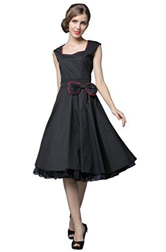 YACUN Damen 50s Retro vintage Rockabilly kleid Hepburn Stil Rundausschnitt Partykleid Cocktailkleid Schwarz nVhJSmX73H