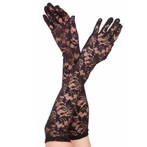 New black lace long elbow length floral pattern gloves fancy dress hen night costume clubwear by UK CLUB (Hen Night Costumes Uk)
