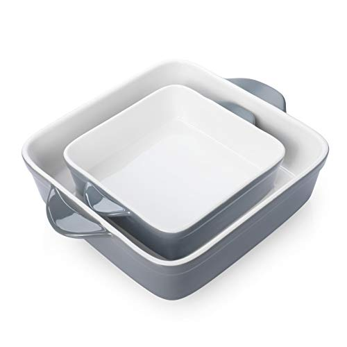 Sweese Porcelain Baking Dish, Square Baker, Non-stick Brownie Pan with Double Handle, set of 2 – White