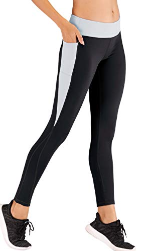 IUGA High Waist Yoga Pants with Pockets, Tummy Control, Workout Pants for Women 4 Way Stretch Yoga Leggings with Pockets (Black/Gray IU7860, Large)