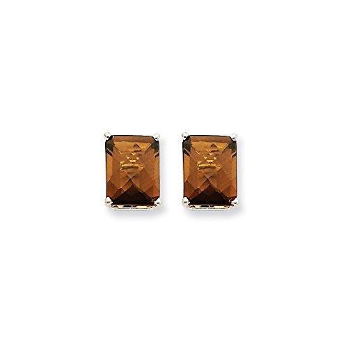 Best Designer Jewelry 14kw 9x7mm Octagon Checker-Cut Smoky Quartz Earrings
