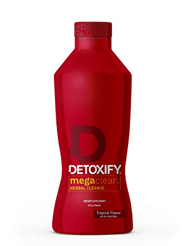 Detoxify Mega Clean Herbal Cleanse – Tropical Flavor– 32 oz | Professionally Formulated Herbal Detox Drink | Enhanced with Milk Thistle Extract, Ginseng Root Extract & Guarana Seed Extract