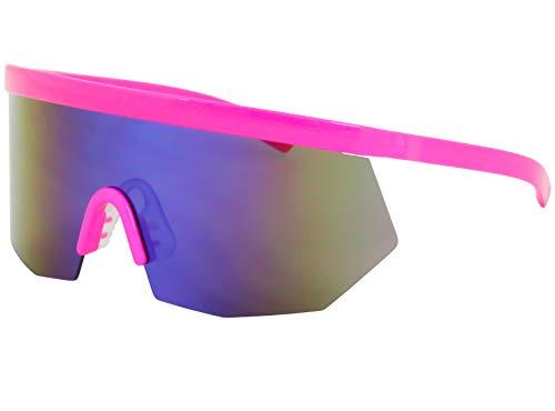 Flawless Eyewear Oversized Super Shield Rainbow Mirrored Lens Semi Rimless Style Retro Flat Top Sunglasses (Pink Mirror), X Large (For Sunglasses Shield Men)