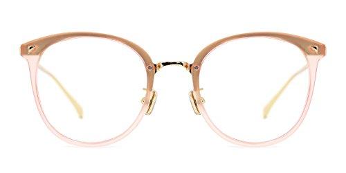 TIJN Women Retro Round Non-prescription Glasses Frame Optical Eyeglasses - Frames Eyeglass Pink