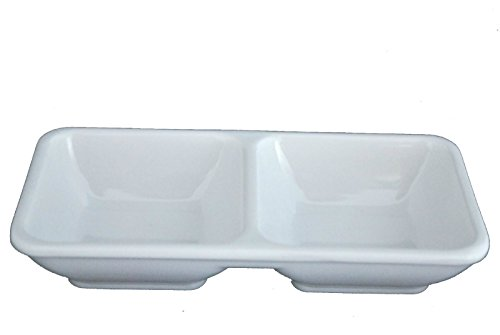 Lucky Star Melamine Divided Plastic Dipping Plates/Soy Sauce Dishes, 2-Compartment, White, 144-pcs per case (12 dozen) 2 Compartment Sauce Dish