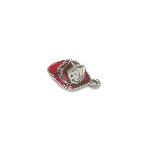 (Charm for Jewelry Making - Fire Hat 15x11mm Pewter Silver Plated Hand Painted)
