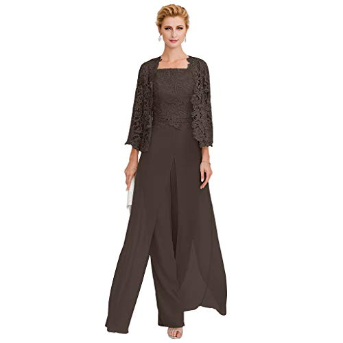(TS Pantsuit Straps Floor Length Chiffon Corded Lace Split Front Mother of The Bride Dress with Appliques Chocolate)