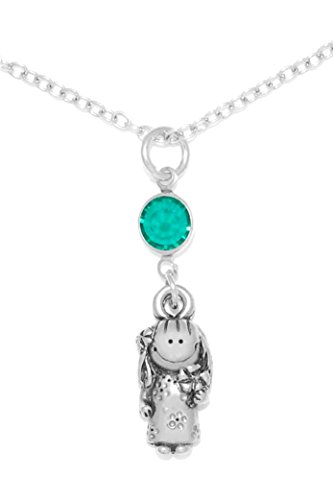 Clayvision Hula Girl Muumuu Charm Necklace w/ Emerald Colored Green Crystal May