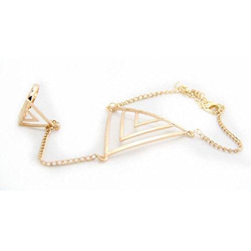 Susenstone®Women Triangle Hand Bracelet Finger Ring Bangle Slave Chain (Gold)