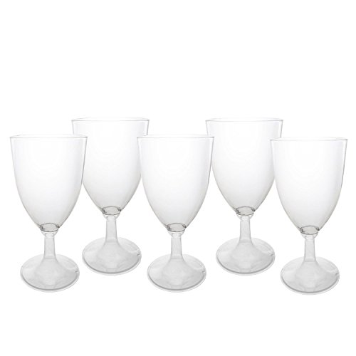 Party Essentials N180655 24Count Hard Plastic Onepiece 8 oz Wine Glasses, Clear (Wine 24 Glasses)