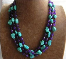 New 3 Rows Nugget Turquoise & Faceted Purple Amethyst & Crystal Beads Necklace (Turquoise Faceted Nugget Beads)