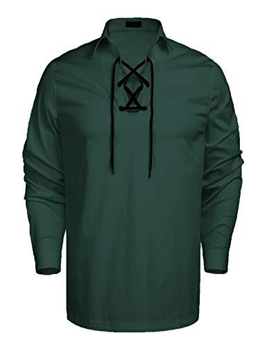 Coofandy Mens Scottish White Jacobite Ghillie Kilt Shirt (M, Deep Green)