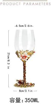 Copa de vino tinto, artesanía de esmalte artesano pintado de copa de vino, caja de regalo de lujo envuelto, mejores regalos de cumpleaños para las mujeres esposa madre amigos valentines madres día, co