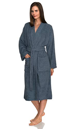 TowelSelections Women's Robe Turkish Cotton Terry Kimono Bathrobe X-Large/XX-Large Bering Sea