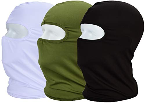 MAYOUTH Balaclava UV Protection Face Masks for Cycling Outdoor Sports Full Face Mask Breathable 3pack (Black + White + Army Green 3-Pack)