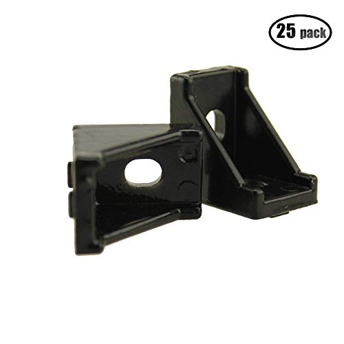 IZTOSS 2028 Black Corner Angle L Brackets Connector Fasten Fitting Long Hole for Aluminum Profile Size 28x28x20mm Pack of 25