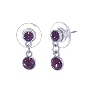 Scarlet Bijoux Rhodium Plated Purple Crystal Duo Drop Earrings, E1139-8